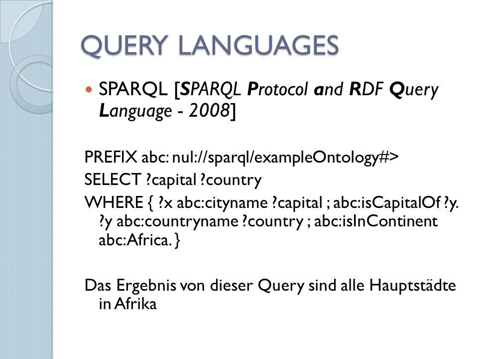 QUERY LANGUAGES SPARQL [SPARQL Protocol and RDF Query Language - 2008]